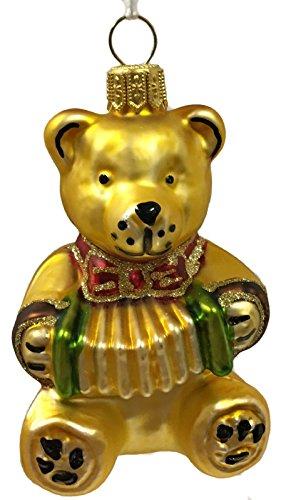 Pinnacle Peak Trading Company Teddy Bear with Accordion Czech Glass Christmas Tree Ornament Music Toy Décor