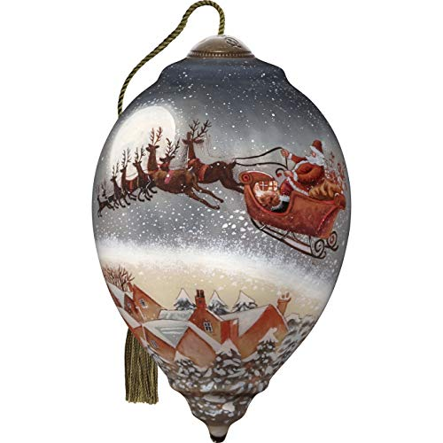 Ne'Qwa Standard Princess Santa & Sleigh Rooftops Ornament, Multi