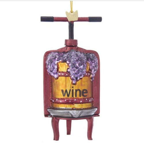 Kurt Adler Noble Gems Wine Press Glass Ornament
