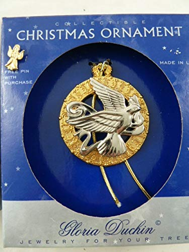 Gloria Duchin Vintage Christmas Ornament Dove in Wreath Plus an Angel Pin Jewelry for Your Tree