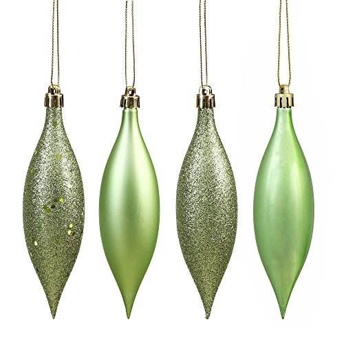 Vickerman N500154 Shatterproof Drop Ornament with 4 Separate Finishes (shiny, matte, glitter and sequin) in 8 per box, 5.5″, Celadon