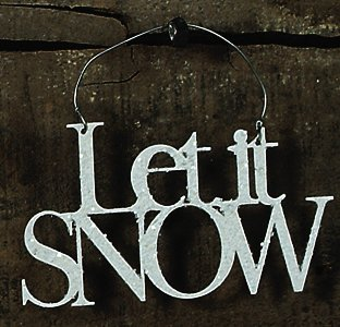 Primitives By Kathy 4.75 Inches White Glitter Let It Snow Word Tin Hanging Ornament