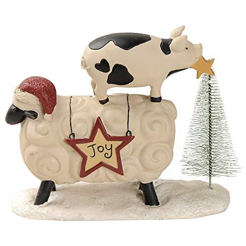 Blossom Bucket Joy Sheep Pig Christmas Tree 4.25 x 5 Inch Resin Stone Christmas Tabletop Figurine