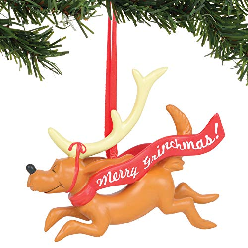 Department 56 The The Grinch Max with Banner Hanging Ornament, 3.25″, Multicolor