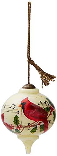 Ne'Qwa Art Hand Painted Blown Glass Caroling Cardinal Ornament,