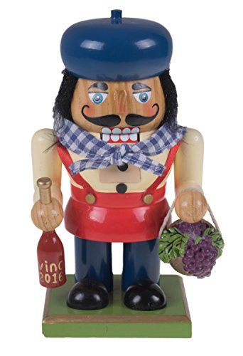 Clever Creations Traditional Wooden Chubby Italian Nutcracker Wine Bottle and Basket of Grapes | Festive Christmas Decor | 7″ Tall Perfect for Shelves and Tables