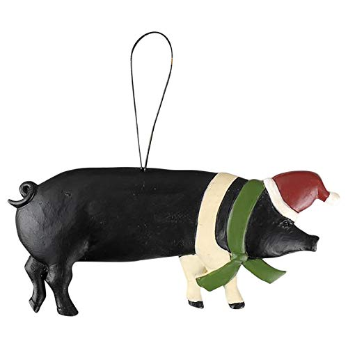 Blossom Bucket Pig with Santa Hat Ornament