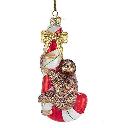 Kurt Adler Noble Gems Sloth on Candycane Glass Hanging Ornament, 5 inches Tall