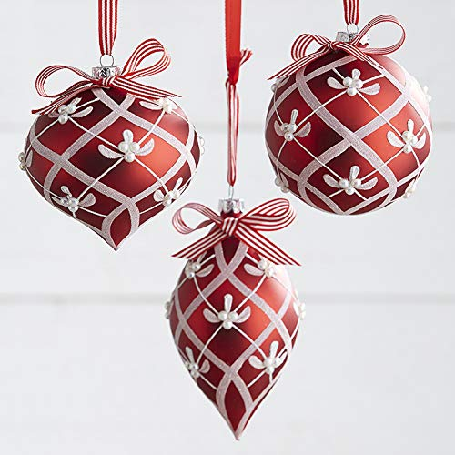 Set of 3 Raz 6″ Red and White Glitter Patterned Glass Christmas Ornament 3922837