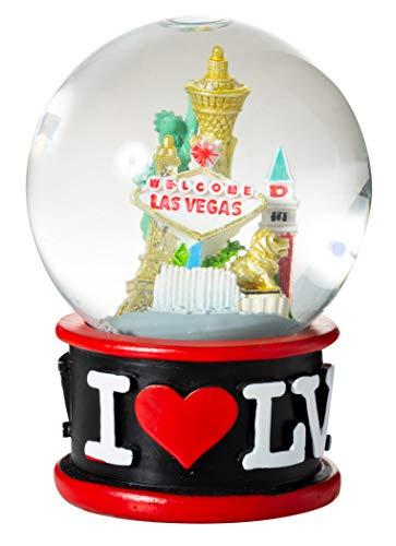 Artisan Owl I Love Las Vegas Strip City Skyline Souvenir Water Snow Globe (Black)