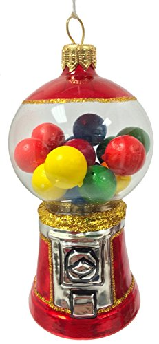 Pinnacle Peak Trading Company Gumball Machine Polish Glass Christmas Tree Ornament Decoration Bubblegum