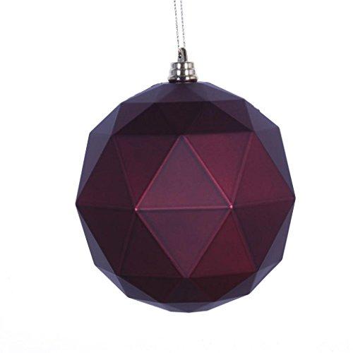 Vickerman 467121-4.75 Plum Matte Geometric Ball Christmas Tree Ornament (4 pack) (M177326DM)