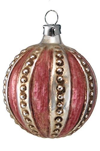 Marolin Ball with Knobs and red Stripes MA2011002 German Glass Ornament w/Gift Box