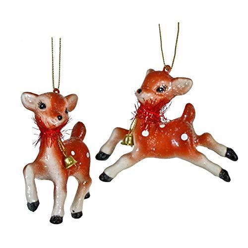 One Hundred 80 Degrees Set/2 Glitter Tinsel Reindeer Retro Vintage Style Christmas Tree Ornaments