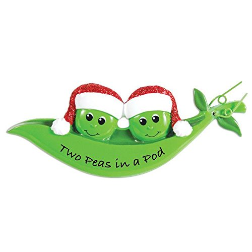 Peapod Family 2 Personalized Christmas Ornament