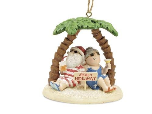 Cape Shore Santa and Mrs. Claus Island Secret Hideaway Palm Ornament