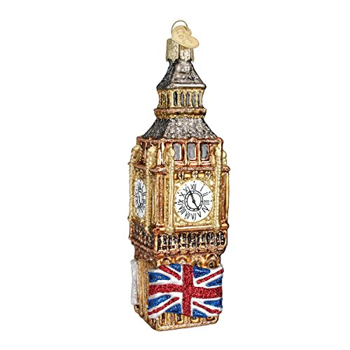 Old World Christmas Glass Blown Ornament with S-Hook and Gift Box, Location Collection (Big Ben)