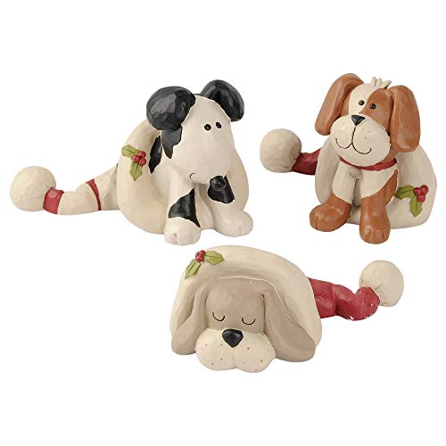 Blossom Bucket Playful Dogs in Christmas Hats 2.25 x 2.25 Inch Resin Stone Christmas Tabletop Figurine Set of 3