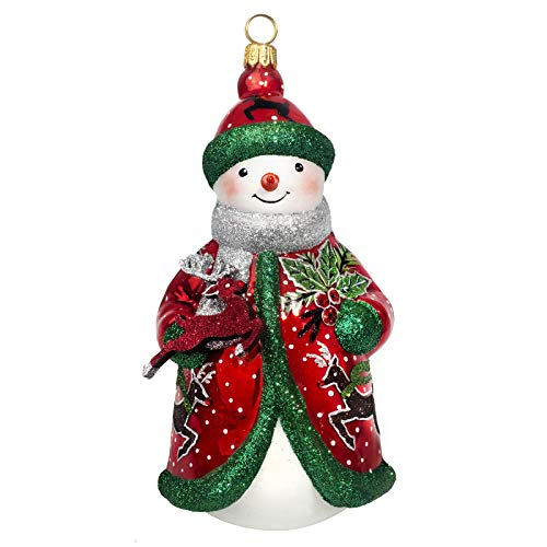 Joy to the World Collectibles Glitterazzi Red Green and Silver Reindeer Snowman Polish Glass Ornament