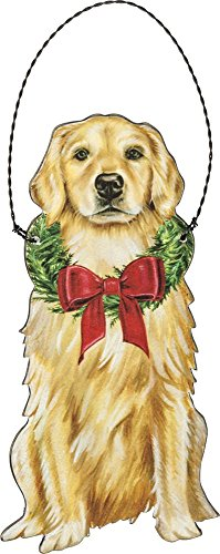 Primitives by Kathy Christmas Golden Retriever Wooden Decorative Hanging Ornament
