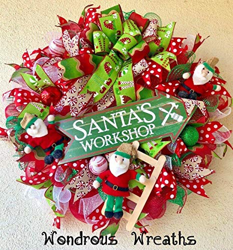 "Santa's Workshop Christmas Wreath With 3 Cute Little Elves,""Santa's Workshop"" Wood Sign, Ball Ornaments, Mini Ladder, Gorgeous Holiday Ribbons-Free Shipping!"