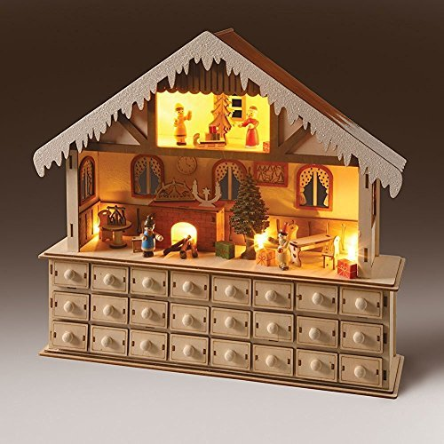 LED Lighted Wooden Bavarian Scene Advent Calendars – Christmas Decoration with 24 Storage Drawers (House)