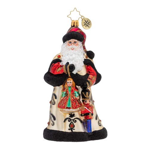 Christopher Radko Girl and Boy Toys Christmas Ornament, Black, Gold, Red