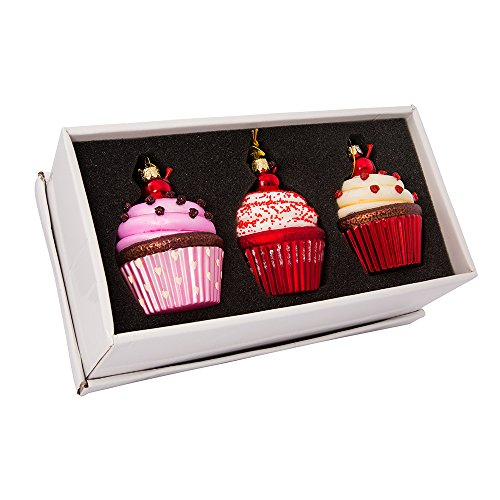 Kurt Adler 3.65-Inch Noble Gems Glass Cupcake 3-Piece Ornament Set,