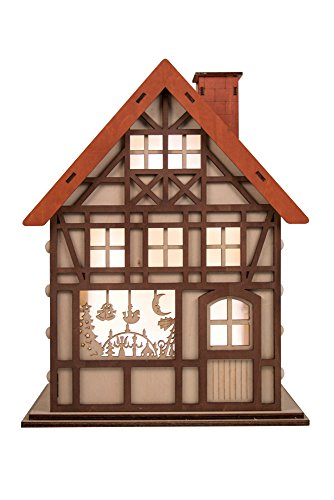Clever Creations 24 Day Advent Calendar Christmas House Shaped Countdown | Natural Wood Numbers | 100% Wood Construction | Holiday Decoration | Measures 9.75″ x 7″ x 12.5″ | Battery Powered