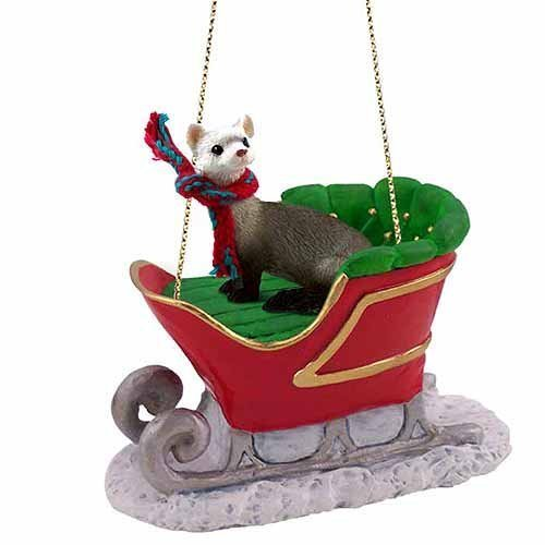Ferret Sleigh Ride Christmas Ornament – DELIGHTFUL! by Conversation Concepts