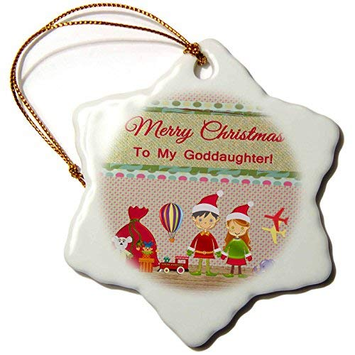Beverly Turner Christmas Design – Elf Boy and Girl, Santa Workshop, Toys, Merry Christmas to Goddaughter – Snowflake Porcelain Ornament (ORN_223607_1)