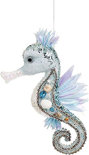 Mark Roberts Coastal Christmas Collection Large Beaded Seahorse Ornament 3-Dimensional 12x6x3.5 Inch, 1 Ea