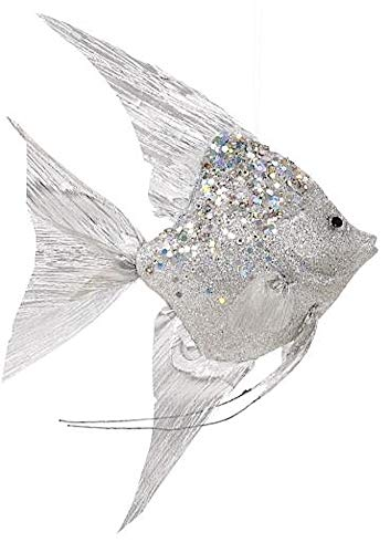 Mark Roberts Coastal Christmas Collection Angel Fish Ornaments Silver 13×8.5×2.75 Inch, 1 Ea