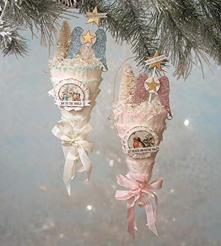 Bethany Lowe Designs Pastel Paper Cone Ornaments with Angel Wings – Set of 2