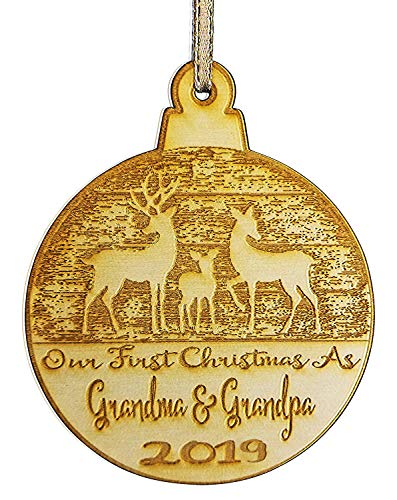 Our First Christmas As Grandma and Grandpa Christmas Ornament (2019) Boy and Girl Tree Hanging Decoration | 1st Collectible Keepsake and Heirloom | Grandma, Grandpa, Babies, Infants, Newborns