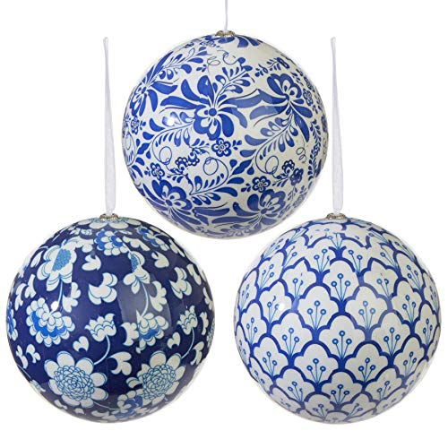 RAZ Imports Chinoiserie Ball Ornaments Set of 3-4.75 Inch