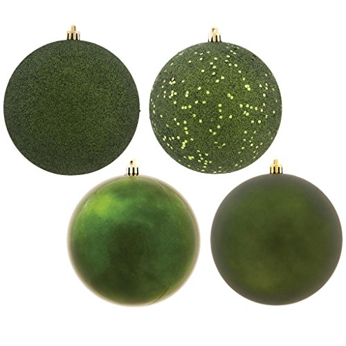 Vickerman 490358-3 Moss Green 4-Finish Ball Christmas Tree Ornament (Set of 32) (N596864A)