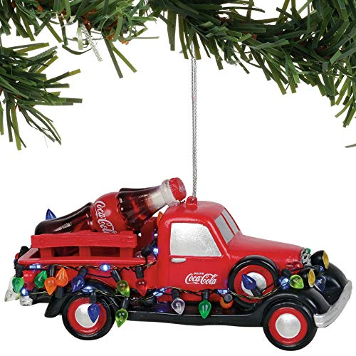 Department 56 Classic Brands Coke Truck Lit Hanging Ornaments, 2.5″, Multicolor