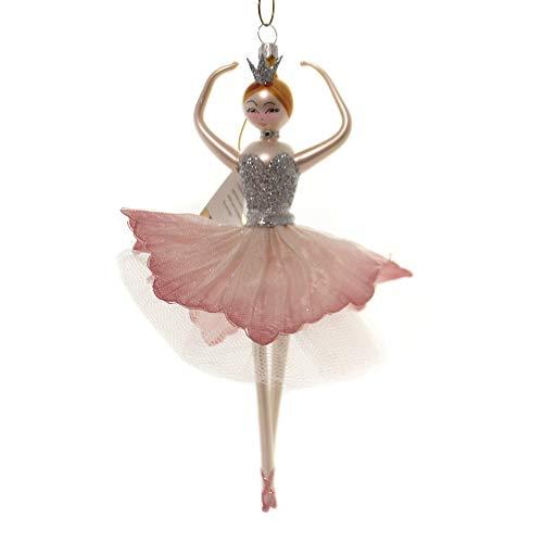 De Carlini Ballerina Pink/Silver Glass Italian Christmas Ornament Do7631