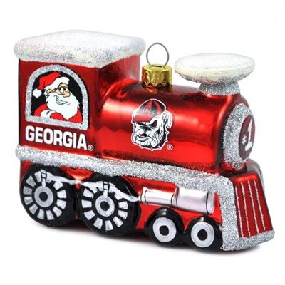 Georgia Bulldogs Blown Glass Train Ornament