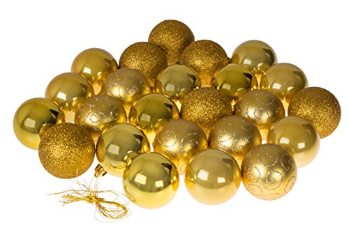 Clever Creations Christmas Ornaments Variety Set | Gold Christmas Decor Theme | Glitter, Gloss, Mirror Ball Textures Shatter Resistant Plastic | 60mm Round Ornaments | 24 Pack