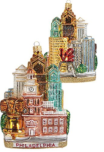 Pinnacle Peak Trading Company Philadelphia City Landscape Polish Glass Christmas Ornament ONE Decoration PA