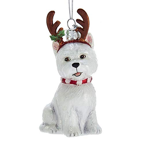 Kurt-Adler Glass Ornament with S-Hook and Gift Box, Dog with Antlers Collection (West Highland Terrier, NB1448WE)
