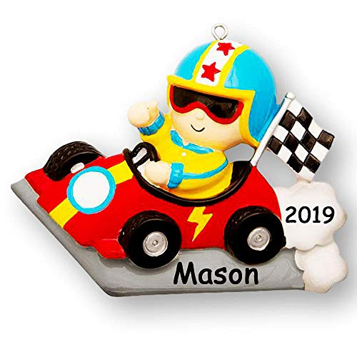 Personalized Speedy Race Car Driver Christmas Ornament Holiday Decoration with Custom Name and Date