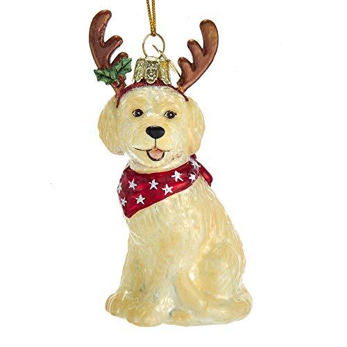Kurt Adler Noble Gems Goldendoodle with Antlers Glass Hanging Ornament