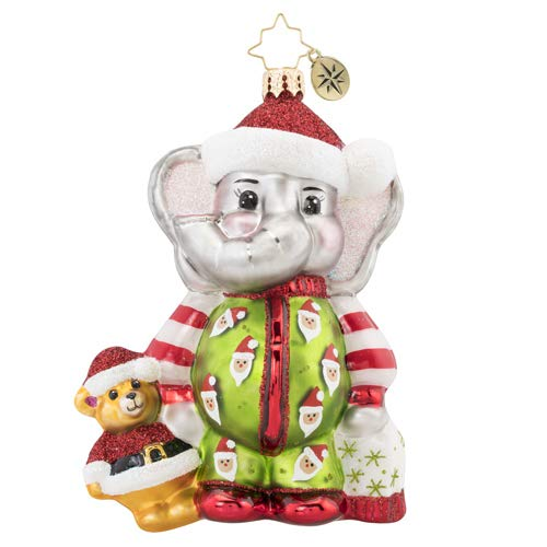 Christopher Radko Sleep Tight Baby Elephant Christmas Ornament, Multicolor
