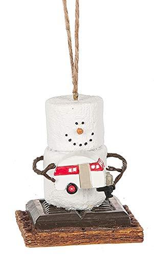 S'mores Original 2017 Vintage Trailer Snowman Ornament