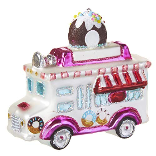 RAZ Imports Blown Glass Christmas Ornament, Colorful Donut Food Truck, 3.75″ H
