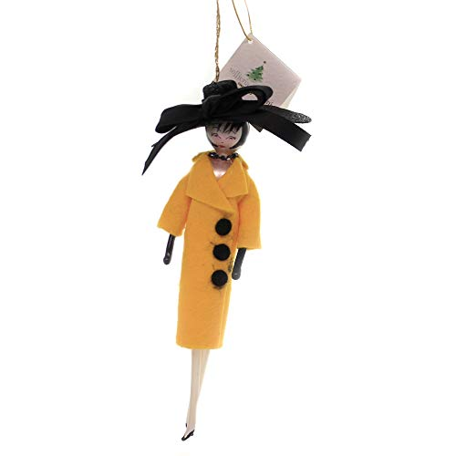 De Carlini Lady with Yellow Coat/Large HAT Italian Christmas Ornament Do7455