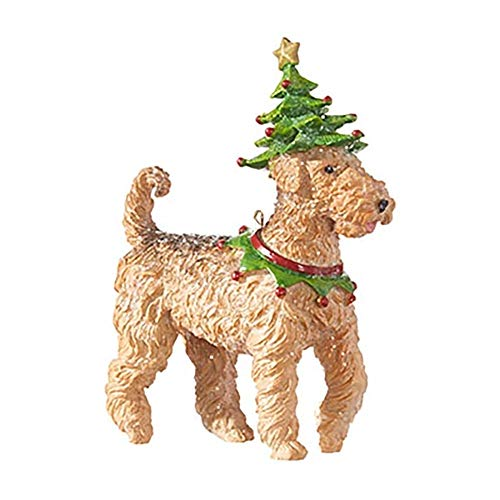 RAZ Imports Dog Ornament – Terrier Ornament Wearing a Christmas Tree Hat